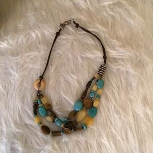 Silpada  Turquoise/Brown/Gold Stones Necklace